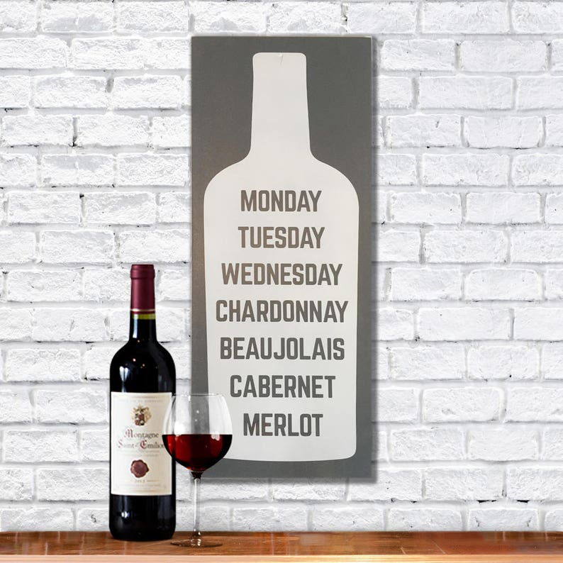 Funny painted wooden sign wine signs for kitchen wine gifts image 0