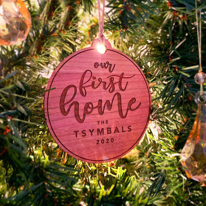 Christmas Tree Decorations Our First Home Christmas Ornament Custom Engraved Christmas Ornament Housewarming Stocking Stuffer Gift