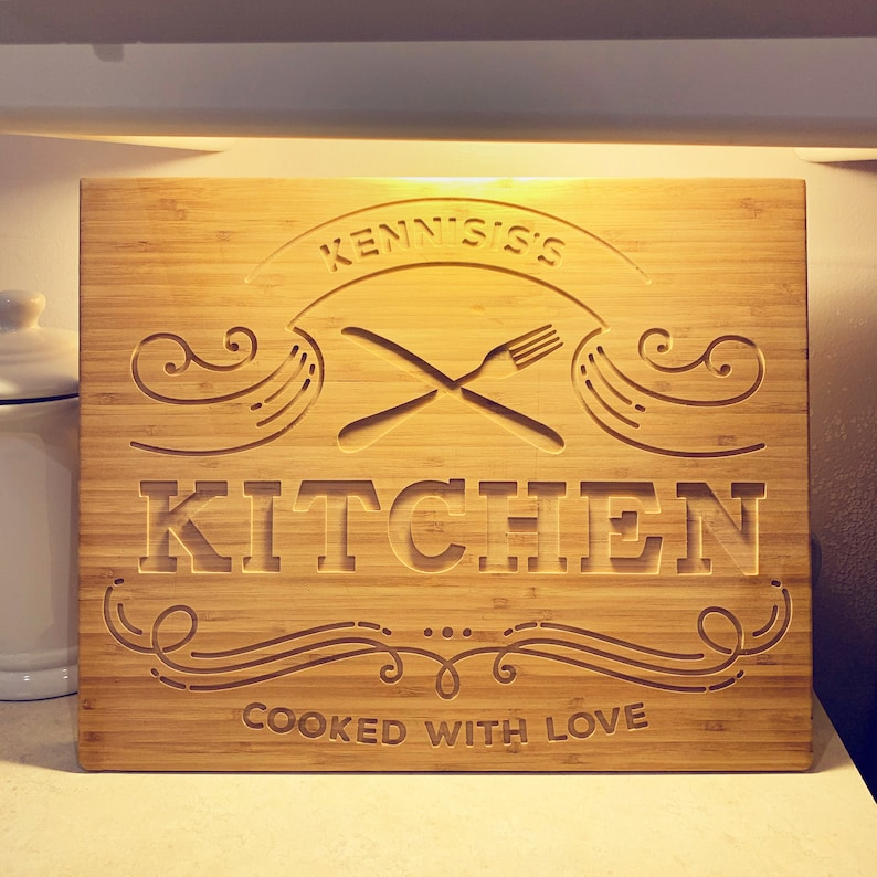 Custom engraved double sided cutting board personalized image 0