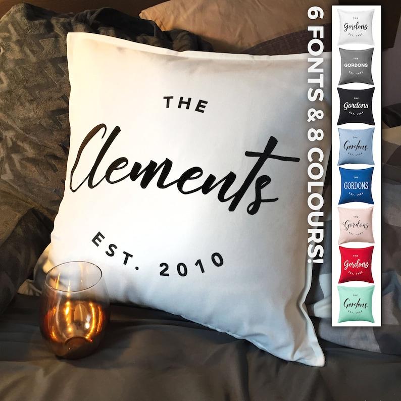 Custom Family Name Established Throw Pillowcase Custom pillow image 0