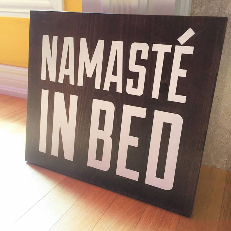 Painted wooden namaste in bed sign yoga gifts namaste gifts image 0
