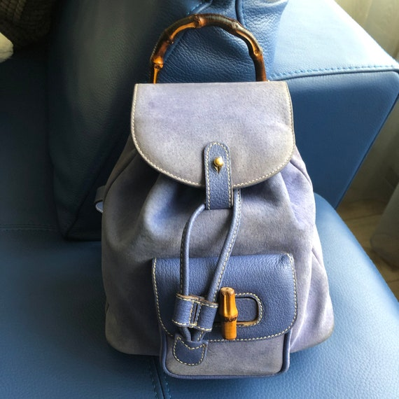 Authentieke Gucci Bamboo Mini paars Suède rugzak