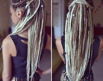 Dreadlock wool with red pearls white braid and bronze hair macram\u00e8 hair wraps. braid macram\u00e8 Dreadlock braid for hair wool hair wrap