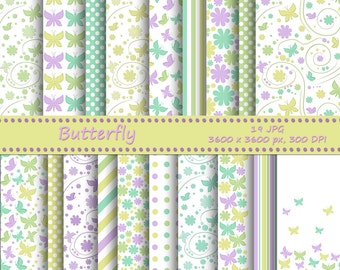 Butterfly digital paper pack, pastel colors - 19 printable jpeg papers - Instant download - Printable background