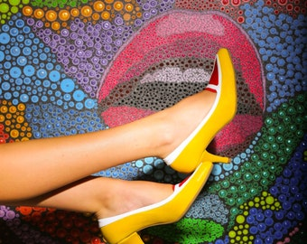 Yellow handmade shoes, women's fashion,shoes,High Heel shoes,Point-Toe Loafer,Yellow Pump, pointed toe pumps,Handmade shoes,Free shipping.