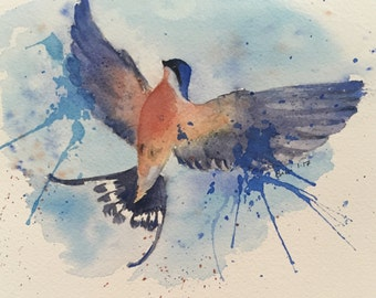 Watercolour painting, Flying Swallow bird