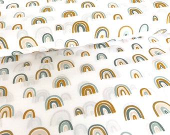 "Cotton fabric ""Rainbow"" white by Poppy Design,"