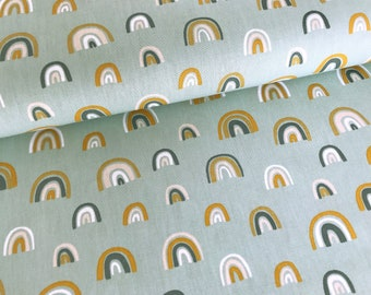"""Cotton fabric """"Rainbow"""" bright old green by Poppy Design,"""