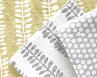 "Decorative fabric ""leaf vines"" grey"