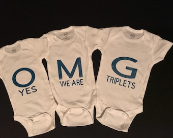 1c67d694a O M G yes we are triplets Baby Onesies set for boy or girl Cute Customized  Personalized Funny Unique Baby Shower Gift