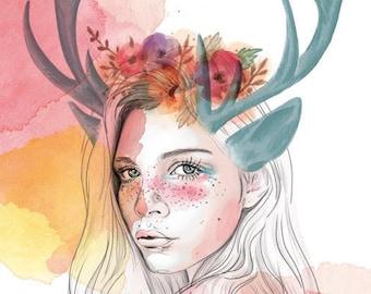Mujer Cierva A4 print