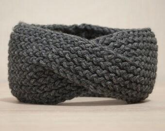 Gray Knit Headband. Knit Turband. Accessory Headband. Women Headband. Girls Winter Headband. Knitted EarWarmer. Christmas Gift