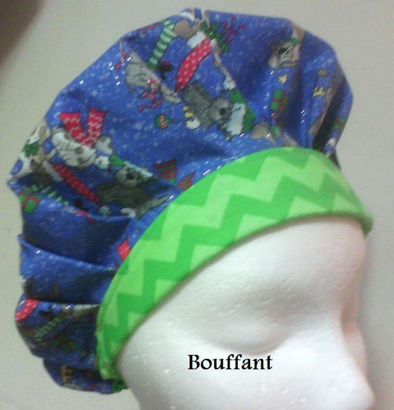 Dog Holiday Christmas Glitter Ponytail//Bouffant//Slip-on Hat Cap Scrub Chemo Canc