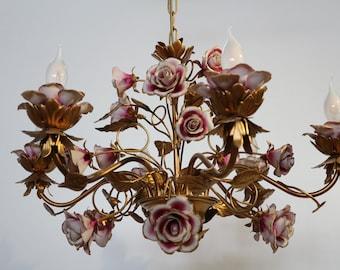 capodimonte handmade porcelain roses chandelier 6 lights, metal color antic gold