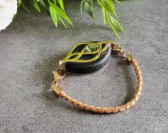 Natural Leather Bolo Bracelet - Bellabeat Leaf