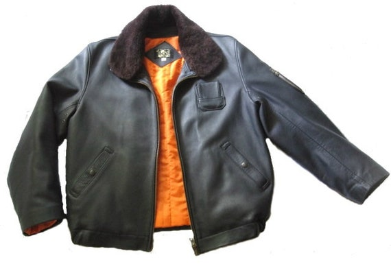 Mens Vintage French Air Force Leather Flight Jacke