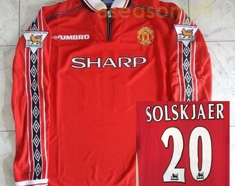 eca63902b19 Manchester United  20 SOLSKJAER 1998-1999 Long Sleeve Soccer Jersey  Football Shirt S M L XL