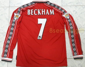 Vintage Manchester United  7 BECKHAM Long Sleeve Soccer Jersey Football  Shirt 8e6708a42