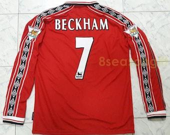 5095130b5fc Vintage Manchester United  7 BECKHAM Long Sleeve Soccer Jersey Football  Shirt