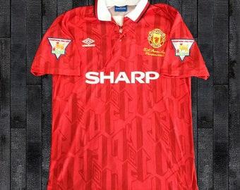 e0500af6b4c Manchester United 1992-1994 SHARP Soccer Jersey Football Shirt S M L XL