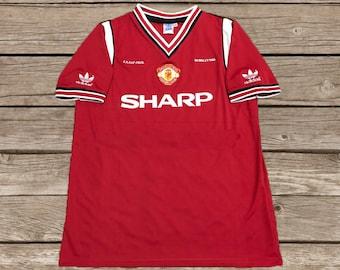 7131e6c14 Manchester United 1984-1986 SHARP Away Soccer Jersey Football Shirt S M L