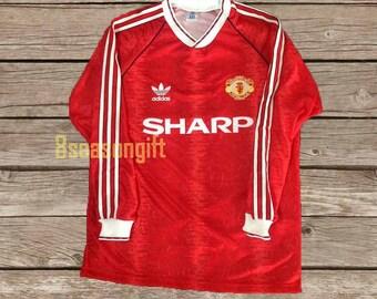 b29c39fcc Manchester United 1990 Long Sleeve Football Shirt Soccer Jersey S M L XL