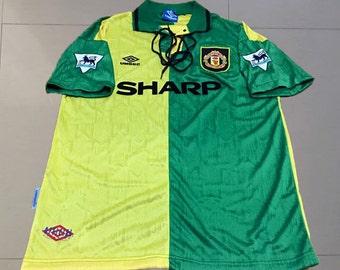 66d55beacdc Cantona  7 Manchester United 1992 93 Newton Heath Retro Shirt Soccer Jersey  S M L XL