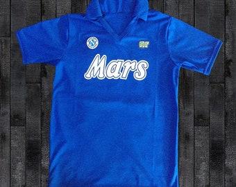 930e2169 Napoli 1989 #10 MARADONA Mars Football Shirt Soccer Calcio Maglia S M L XL