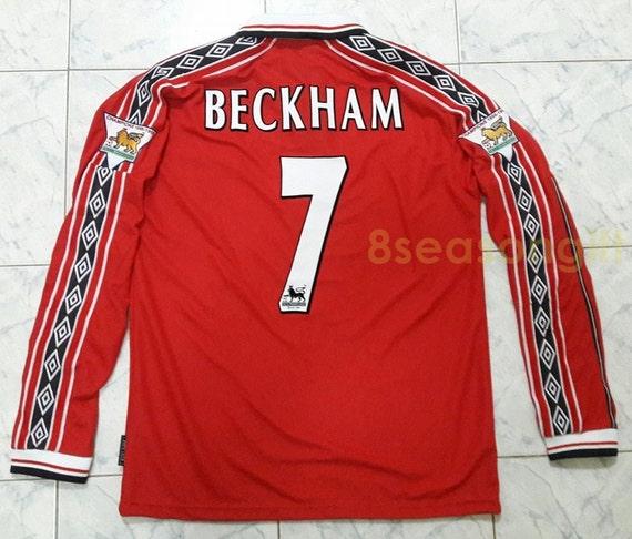 03d01951926 Vintage Manchester United 7 BECKHAM Long Sleeve Soccer Jersey