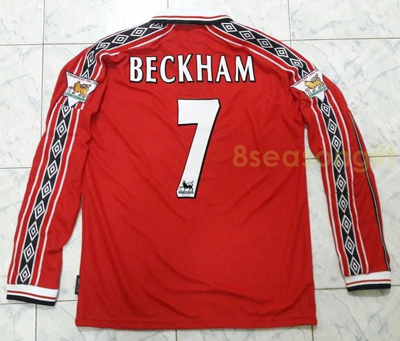 8f553dc20a5 Vintage Manchester United 7 BECKHAM Long Sleeve Soccer Jersey