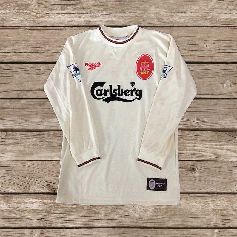 5d674b0db Liverpool 1996 1997 Away 7 McMANAMAN 10 BARNES Soccer Jersey