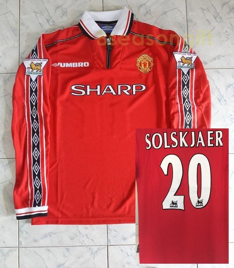 922cfb09aec Manchester United 20 SOLSKJAER 1998-1999 Long Sleeve Soccer
