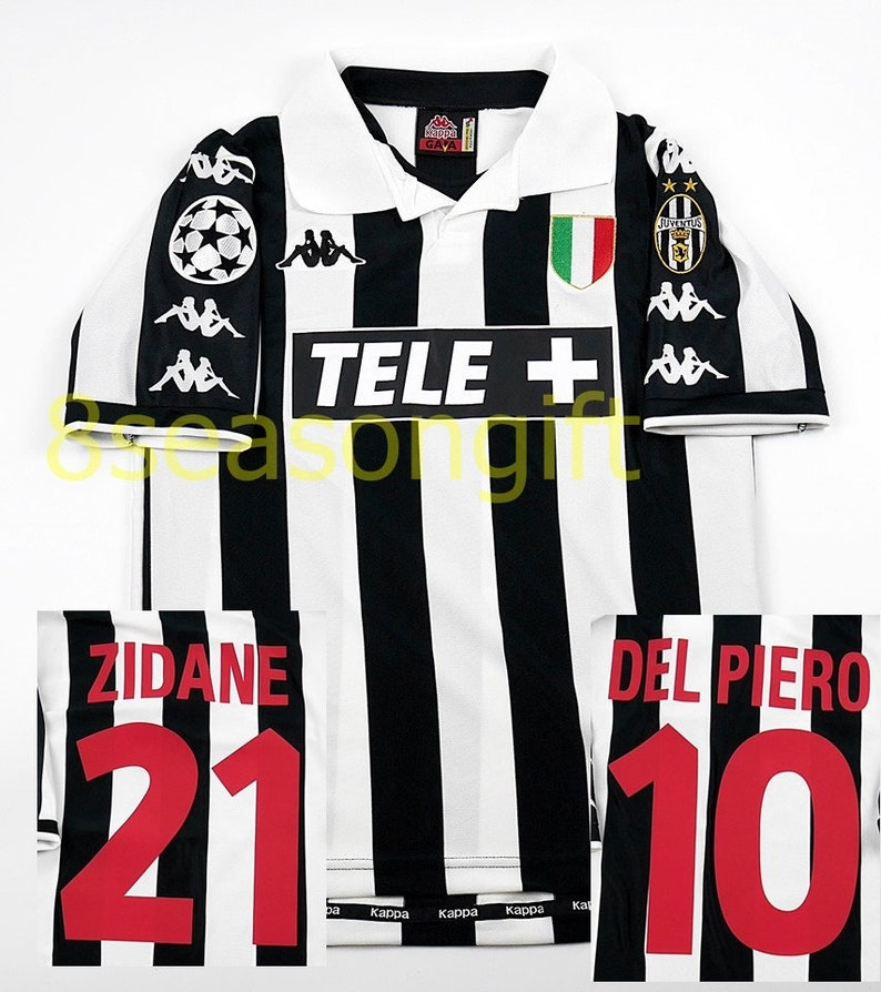 cheap for discount 3acd0 1da2e Juventus 1998-1999 UCL Zidane, Del Piero Soccer Jersey Football Shirt S M L  XL