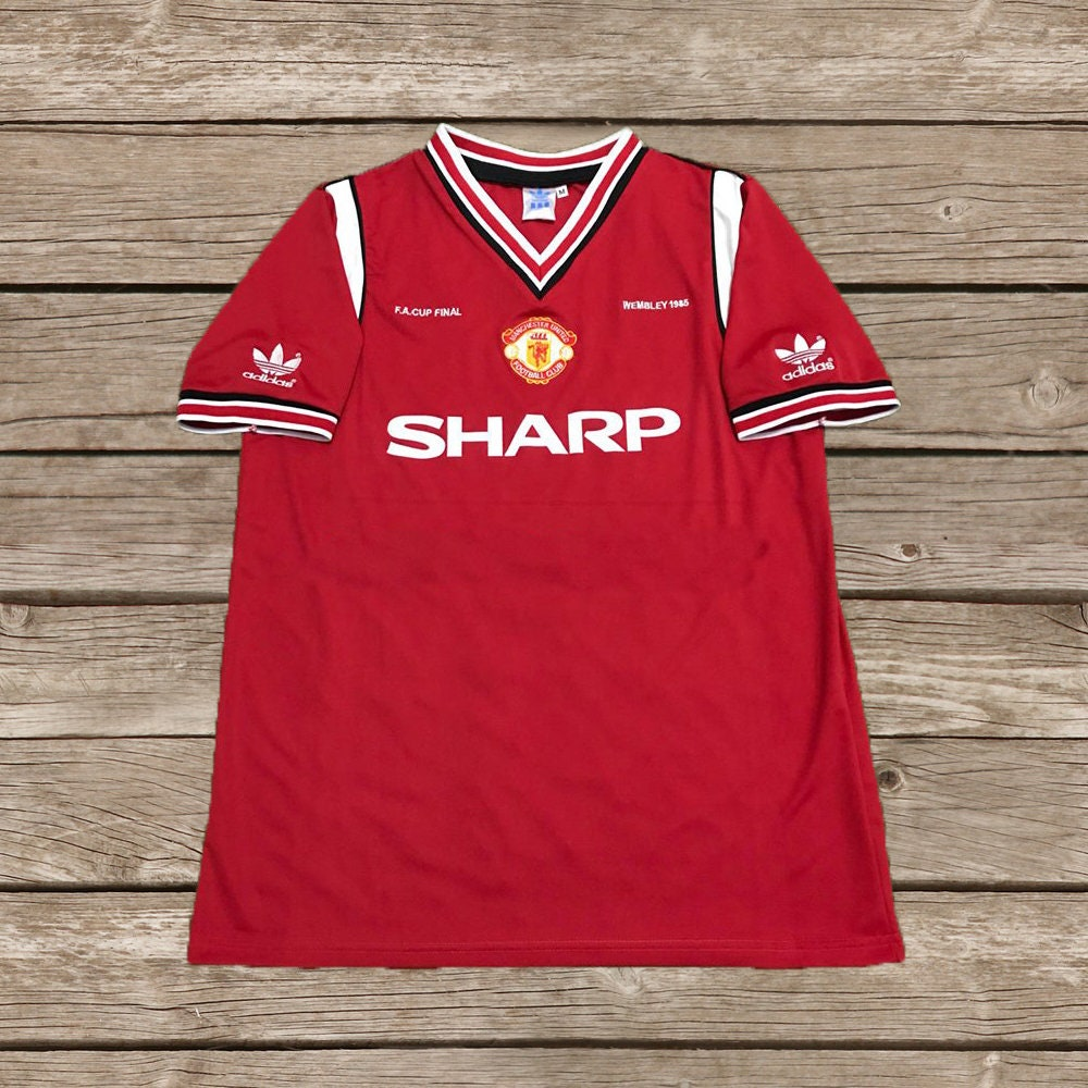 f13154f0914 Manchester United 1984-1986 SHARP Away Soccer Jersey Football