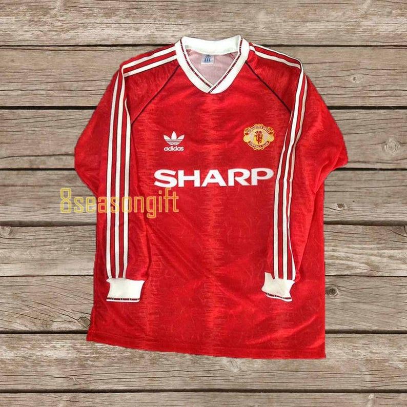 premium selection eab47 e39c3 Manchester United 1990 Long Sleeve Football Shirt Soccer Jersey S M L XL
