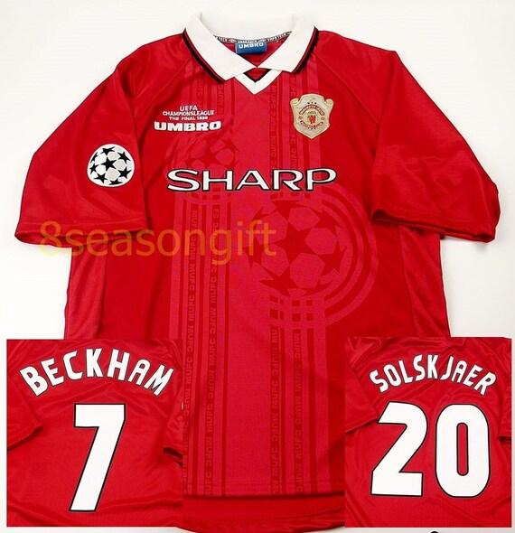 Manchester United Uefa Champions League Final Beckham Solskjaer 1999 Soccer Jersey Football Shirt S M L Xl