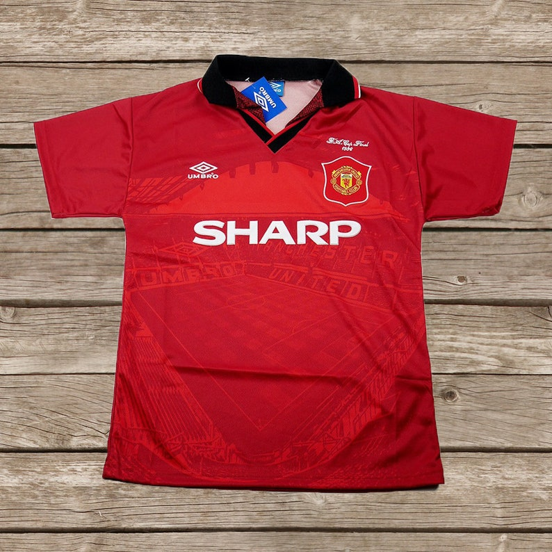 reputable site 0402d c231c Manchester United 1996 FA CUP Football Shirt Soccer Jersey S M L XL 2XL