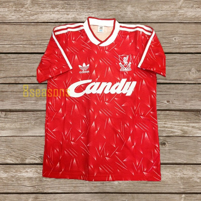 819bd2643f8 Liverpool 1990 Candy Soccer Jersey Football Shirt SIZE S M L