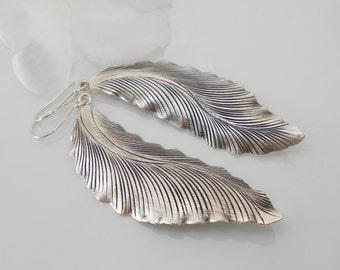 Hill Tribe Silver Leaf Earrings - Sterling Silver Dangle Earrings -  Handmade Earrings