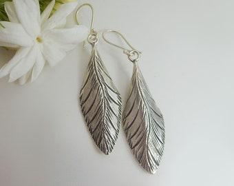 Hill Tribe Silver Dangle Leaf Earrings - Sterling Silver Earrings - Handmade Earrings