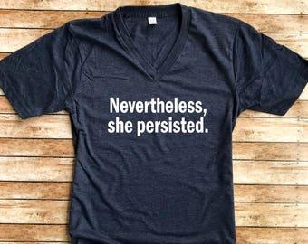 Unisex Heather T-Shirt Nevertheless She Persisted - Nevertheless Shirt