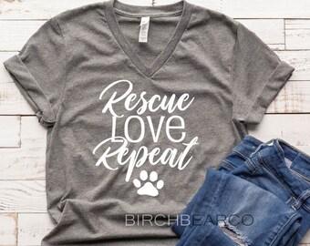 69b345e81512 Rescue Love Repeat Shirt - Dog Mom Shirt - Rescue Shirt - Dog Mom T Shirt - Funny  Dog Shirt - Funny T Shirt Unisex T-Shirt
