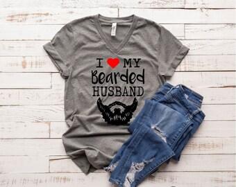 d11fda7e35 I Love My Bearded Husband Beard Shirt- Funny Beard Shirt - Funny T shirt  Graphic T shirt Unisex Tri-Blend V T-Shirt