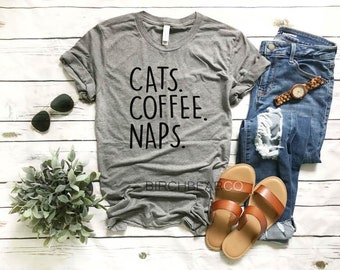8d4d143161 Cats Coffee Naps Shirt - Funny Cat Shirts - Cat T-Shirts - Cat Lover Shirt  - T Shirt Unisex Heather T-Shirt