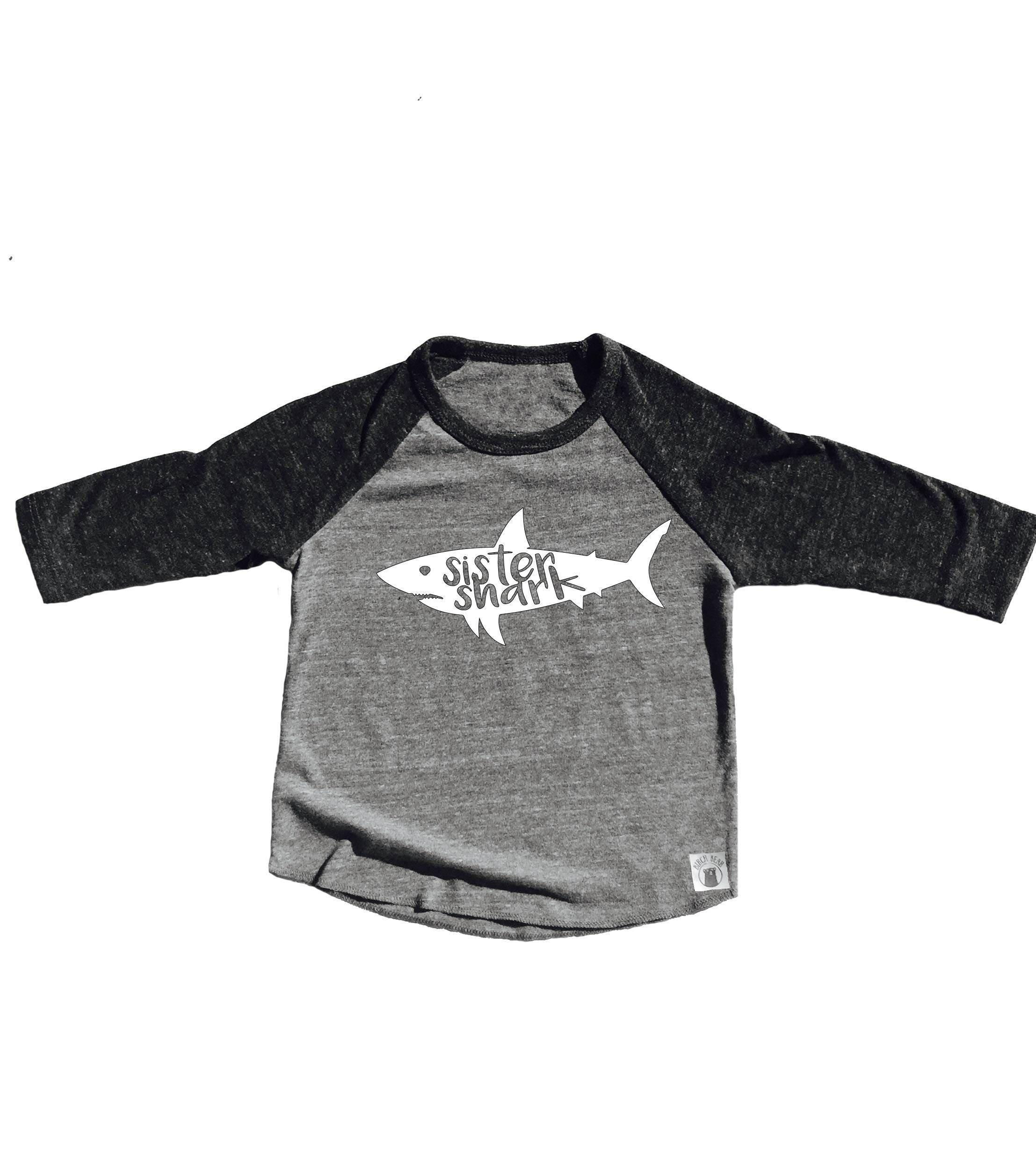 Toddler Baseball Tee Triblend Sister Shark Shirt