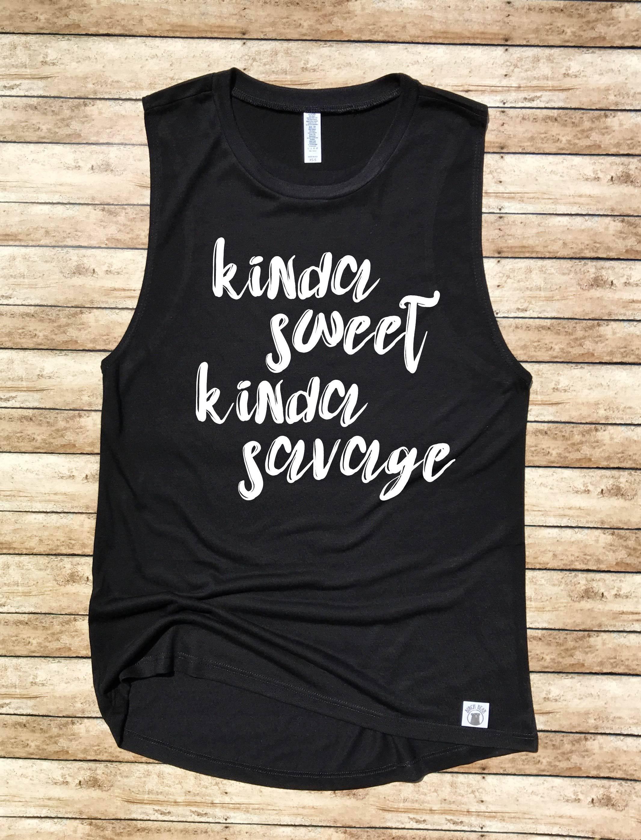 4fc8b442d8e343 Women s Yoga Tank - Kinda Sweet Kinda Savage - Workout Tank ...