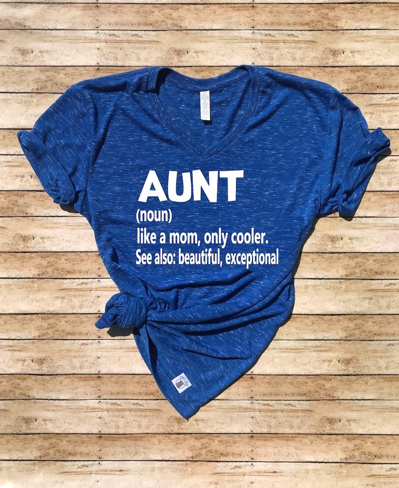 2526af7d Unisex V Neck T Shirt Aunt Like A Mom Only Cooler Funny   Etsy