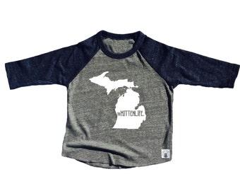 Toddler Baseball Tee Triblend Michigan Mitten Life Michigan Shirt