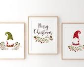 SET OF 3 Christmas Print, gnomes Print, Christmas Wall Art, Nordic Decor, merry christmas Decor,Printable Christmas art,home christmas print