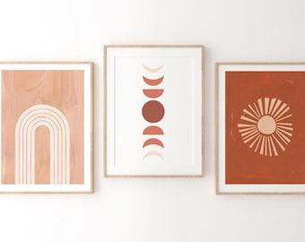 Neutral Burnt orange nursery, Rainbow Wall Art, Set of 3 Prints, Burnt Orange decor, Printable Wall Art, Kids Room Decor, abstract sun, moon